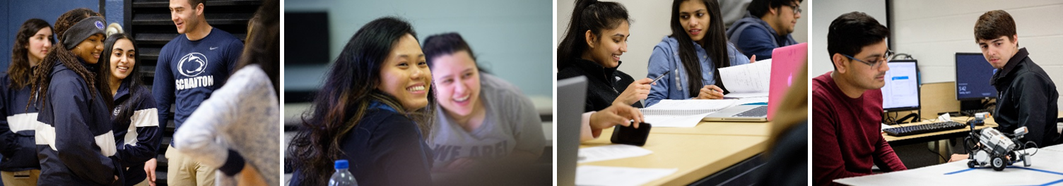 International students in classrooms and on campus.
