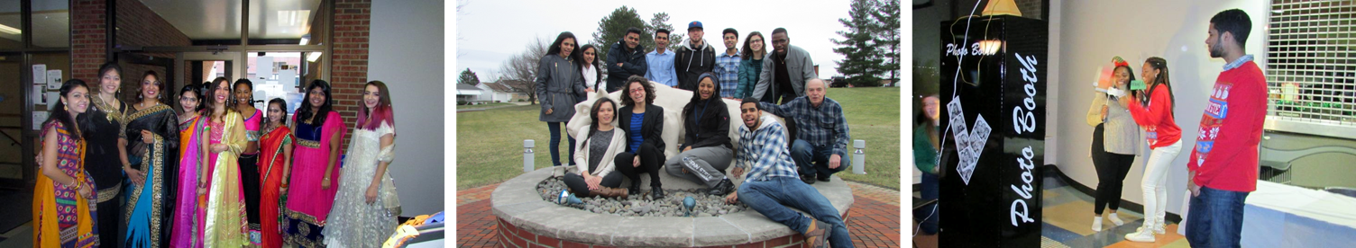 Diverse groups of students on campus