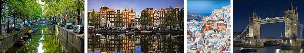 European landmarks, including Venice, London Tower Bridge, and colorful hillside homes