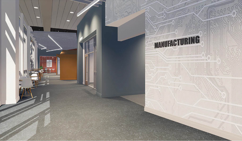 rendering of the manufacturing sign in the  hall way of the state-of-the-art engineering building
