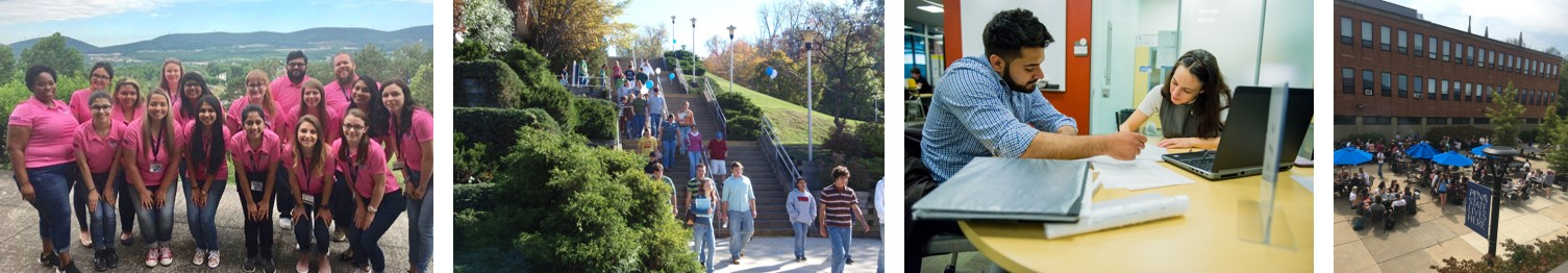 Student groups around campus, inside and out