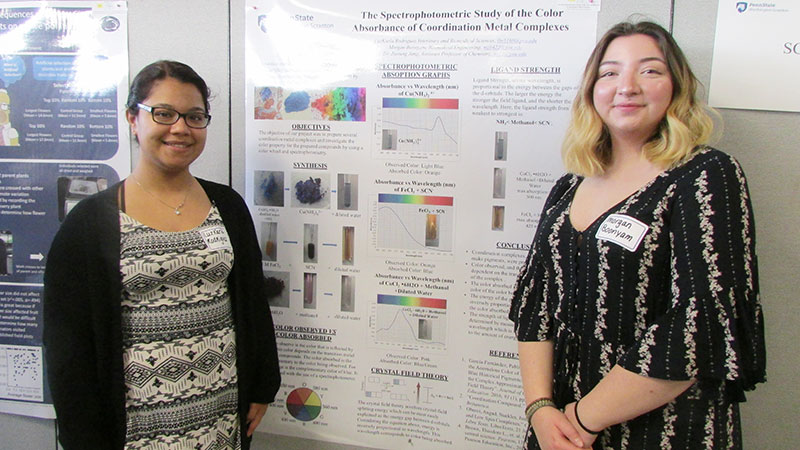 two students with research poster
