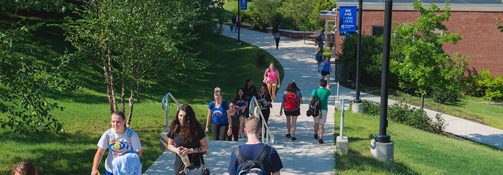 students walking on walkway