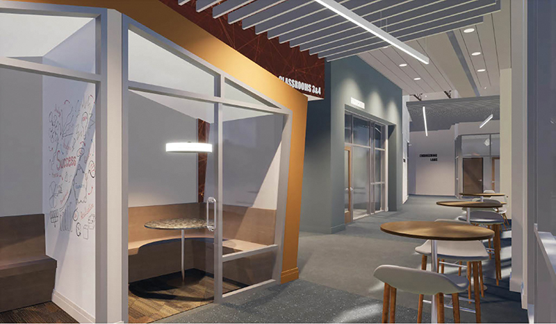 Rendering of a hallway and comfortable study area behind glass.