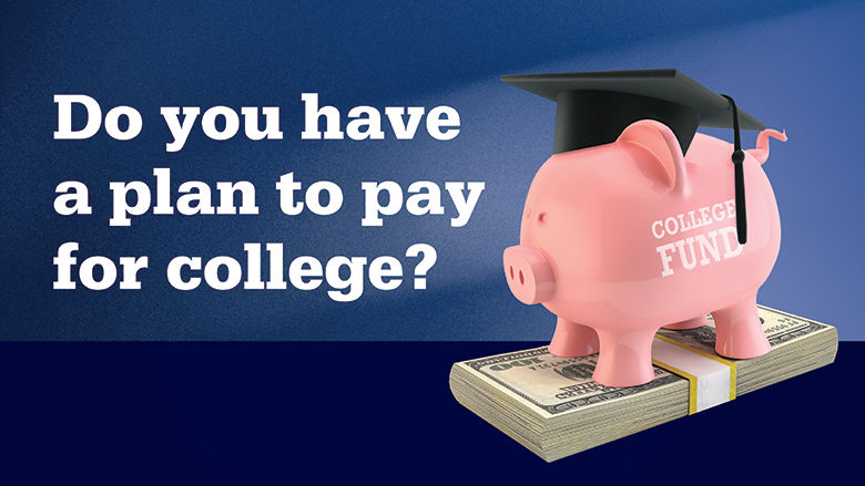 Do you have a plan to pay for college? Piggy bank wearing a graduation cap.