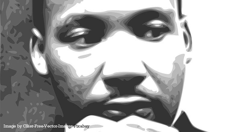 Black and white image of MLK