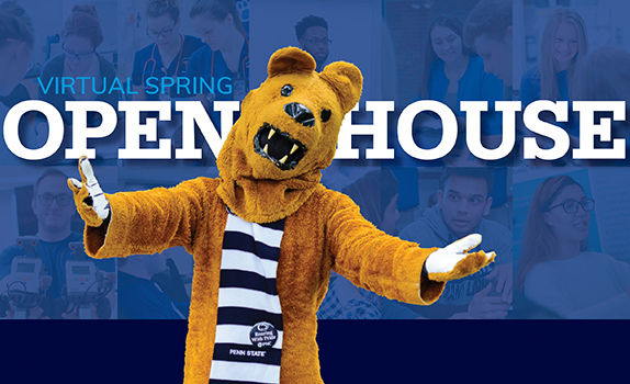 a welcoming nittany lion mascot with arms outstretched in front of Open House sign