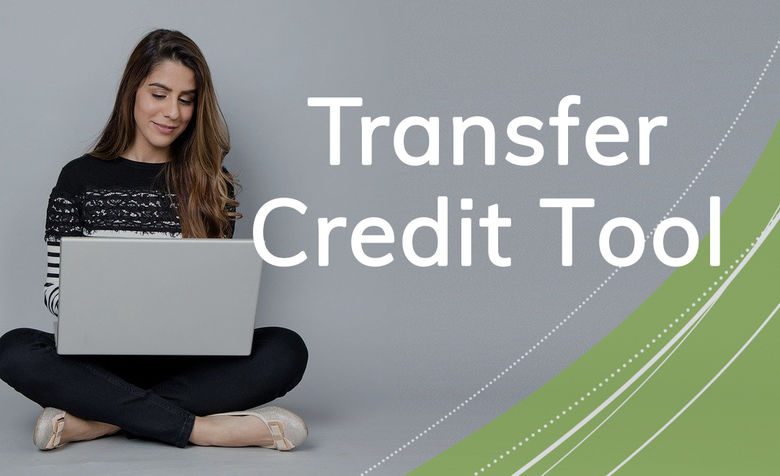 Girl at laptop uses Transfer Credit Tool