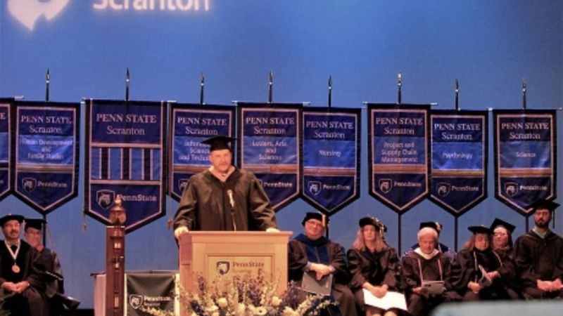 Jonathan fritz giving commencement address