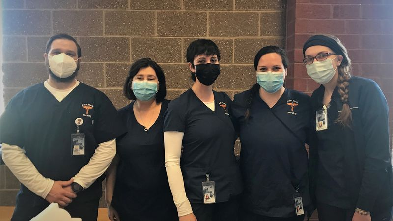 Penn State nursing students pose for a photo at a recent vaccination clinic held at North Pocono High School