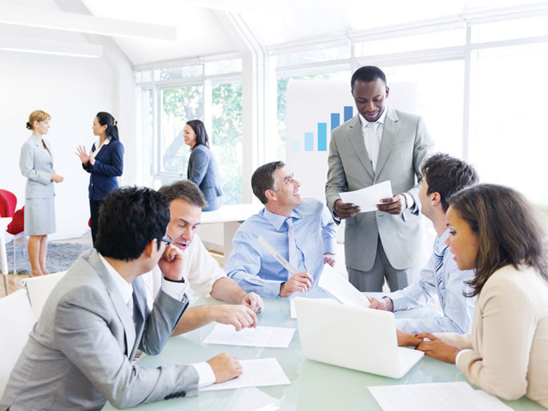 group of professionals at a meeting