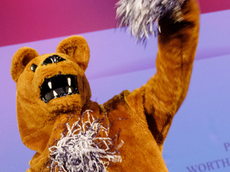 Nittany Lion Mascot cheering