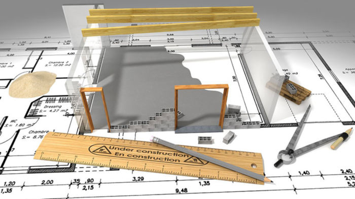 3D drawing and blue print of home under construction