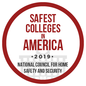 Safest Colleges in America. 2019 Badge.National Council for Home Safety and Security