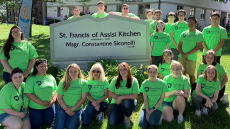 Student volunteers at local soup kitchen