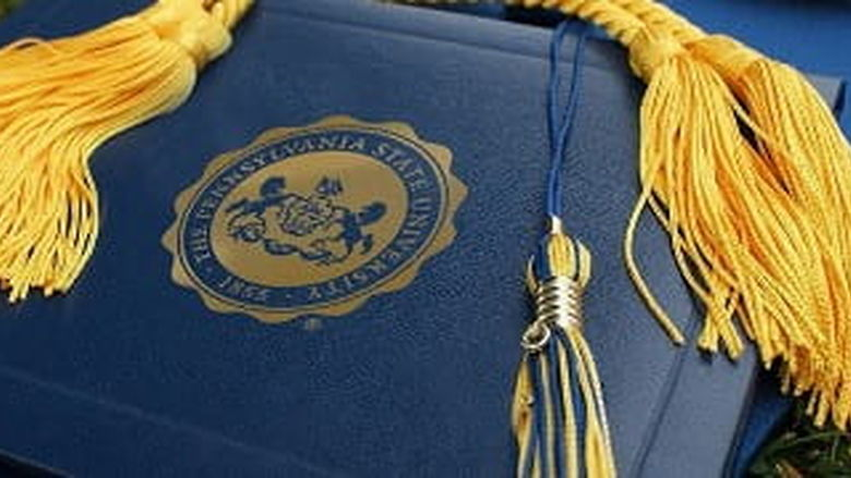 Cap, tassel and penn state diploma cover