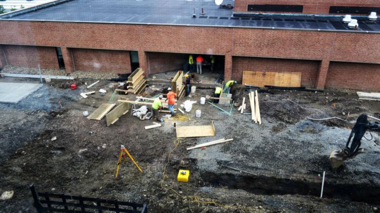 Dawson patio under construction