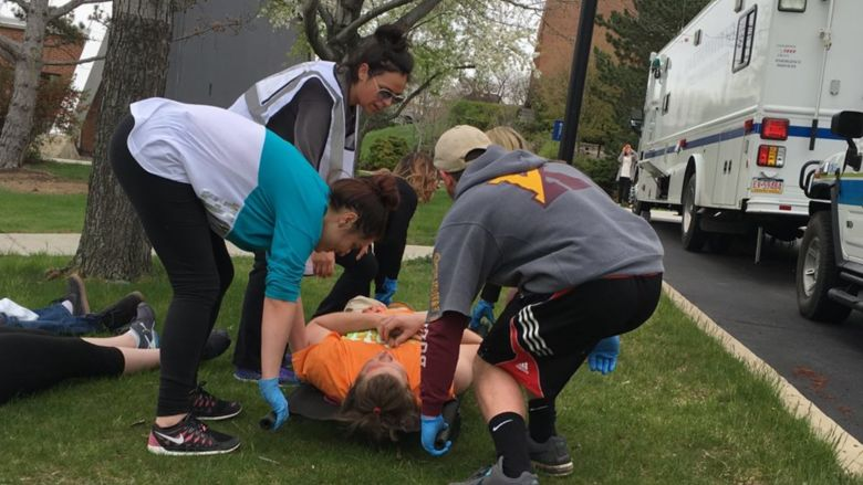 PSWS nursing students carry out a mock disaster drill on the campus.