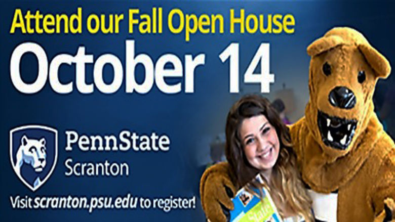 girl with nittany lion announcing Oct. 14 open house date
