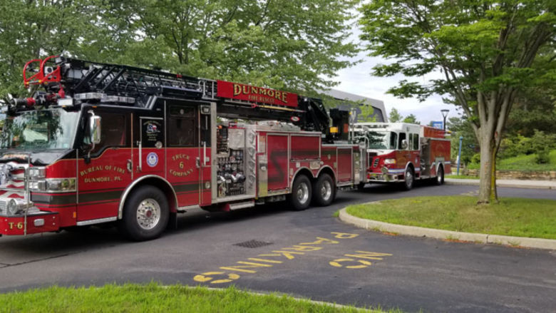 First responders vehicles arrive at nursing suite