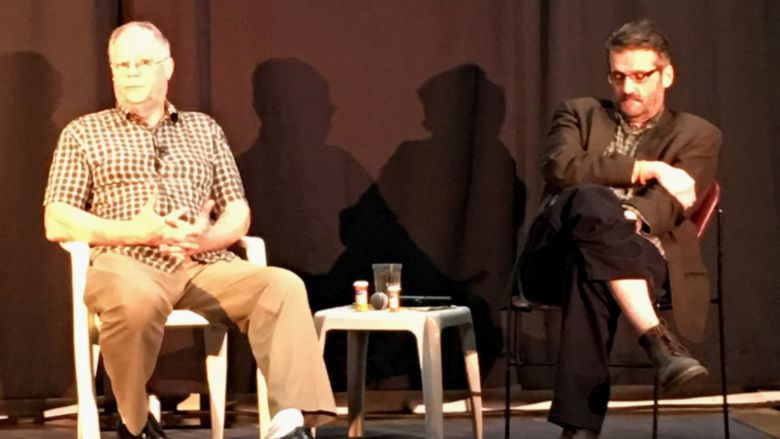 Actor Bob Shlesinger and writer Tom Flannery answer audience questions at the conclusion of their one-man play, The Last Thoughts of Gino Merli.