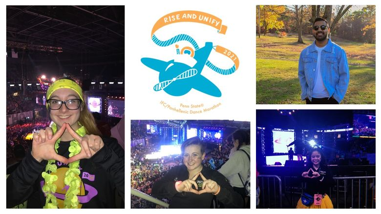 Collage of Scranton's four thon dancers and the THON 2021 logo rise and unify