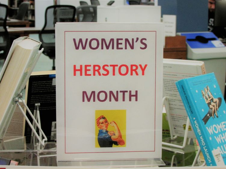 library display of books for women's history month
